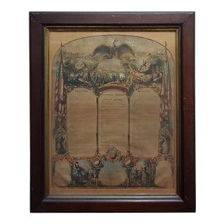 1864 Civil War Military Register Pennsylvania Company E Manifesto, Framed For Sale