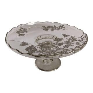 Vintage Floral Design Silver Overlay Cake Stand For Sale