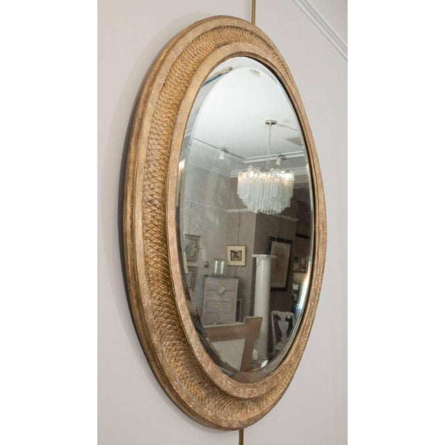 French French Giltwood Oval Mirror For Sale - Image 3 of 5