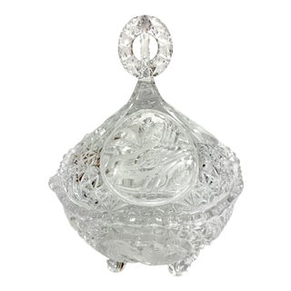 1930s Covered Crystal Candy Dish For Sale