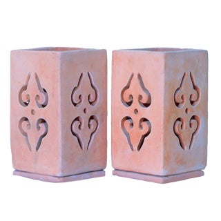 Moroccan Style Terracotta Lanterns, Pair For Sale