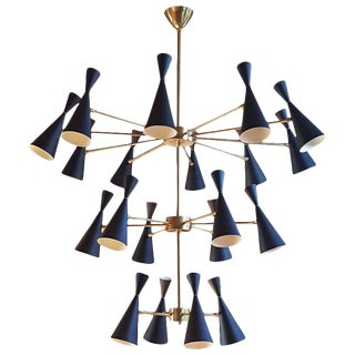 "3-Tier ""Monolith"" Enamel and Brass Chandelier by Blueprint Lighting *Custom Colors* For Sale"