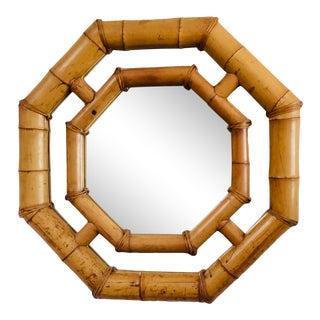 Mid-Century Modern Elephant Bamboo Octagon Mirror For Sale