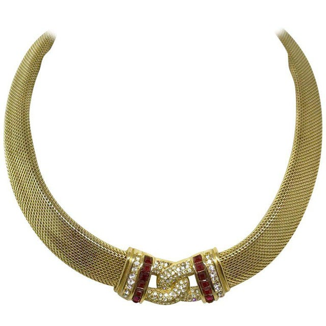 1970s Christian Dior Woven Goldtone Necklace With Red Faceted Stones For Sale In Los Angeles - Image 6 of 6