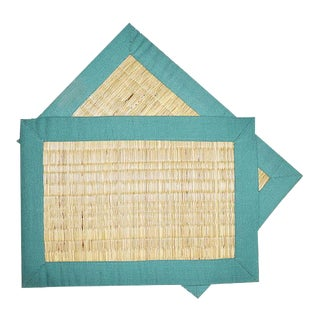 Pair of Green Wicker Placemats For Sale