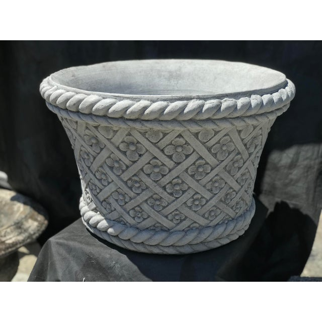 Vintage Handmade Carved Stone Basketweave Flower Planter For Sale In West Palm - Image 6 of 6