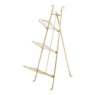 Vintage Brass Mid 20th Century Three Tiered Easel For Sale
