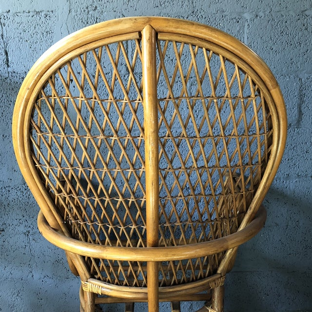 1980s Boho Chic Rattan Fan Peacock Chairs - a Pair For Sale - Image 10 of 13