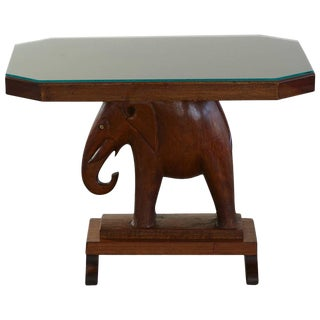 Rare Mahogany Table with Carved Elephant Base with Roosevelt History For Sale
