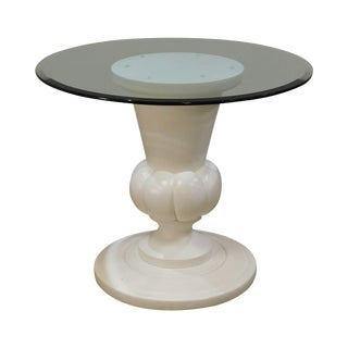 "Quality White Fluted Urn Shape Pedestal Base 36"" Round Glass Top Bistro Table For Sale"