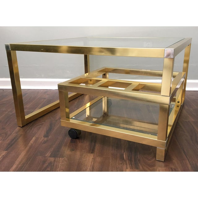 Cubist Brass Swivel Coffee Table with Wine Rack After Milo Baughman For Sale - Image 5 of 7
