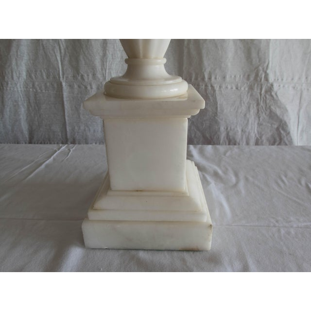 """White Antique Alabaster Lamps (Pr.) Tall Elegant Fine-Lineation 33"""" Gray Shades (new) Excellent For Sale - Image 8 of 8"""