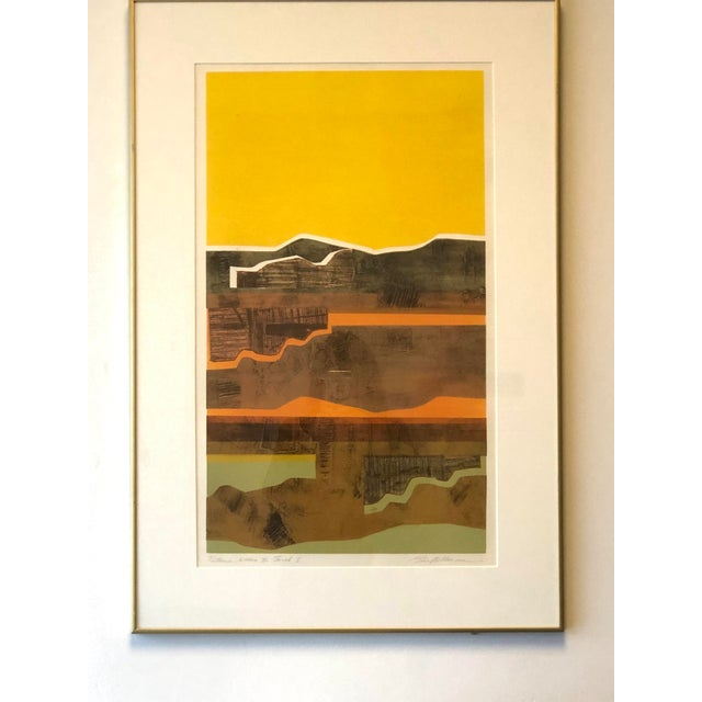 Newly framed mixed media / collage artwork, signed and dated Eric Bellman, 14 July 2008. An array of yellow, orange,...