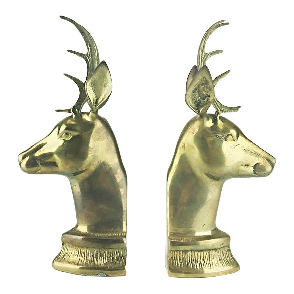 Vintage Elk Brass Bookends - A Pair - Image 1 of 6