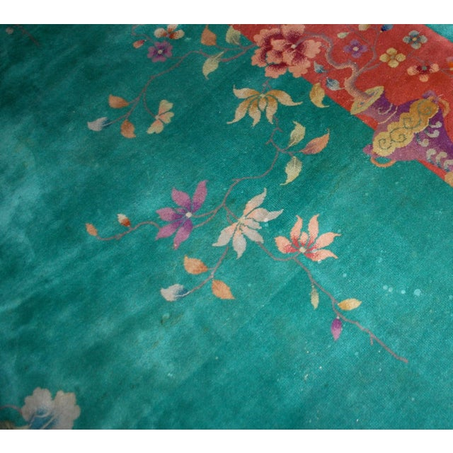 Art Deco 1920s Hand Made Antique Art Deco Chinese Rug - 8′10″ × 11′7″ For Sale - Image 3 of 9