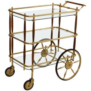 1950s Brass and Walnut Three-Tier Italian Bar Cart For Sale