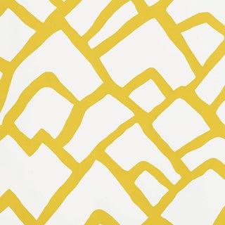 Schumacher Zimba Stripe Geometric Wallpaper in Citrine - 2-Roll Set (10 Yards) For Sale