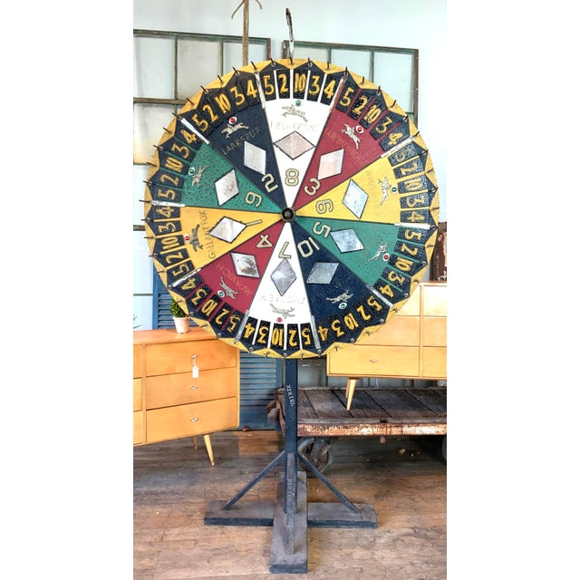 Yellow Antique 1930s Folk Art Horse Race Betting Game Wheel For Sale - Image 8 of 8