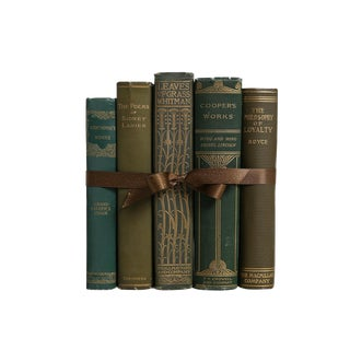 Vintage American Lit in Evergreen Decorative Book Gift Set For Sale
