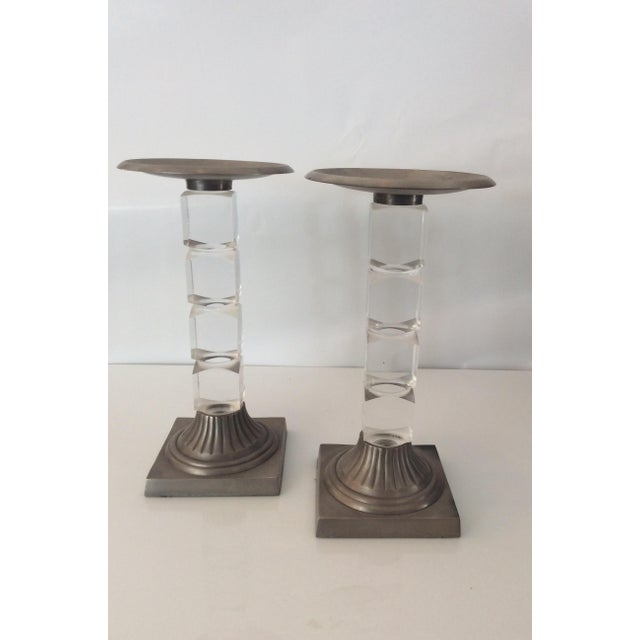 Hollis Jones Style Lucite Candle Holders - Pair - Image 2 of 5