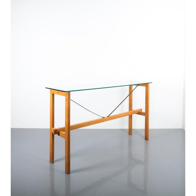 Brown Superstudio Console Table Wood and Glass Zanotta, Italy, Circa 1980 For Sale - Image 8 of 9