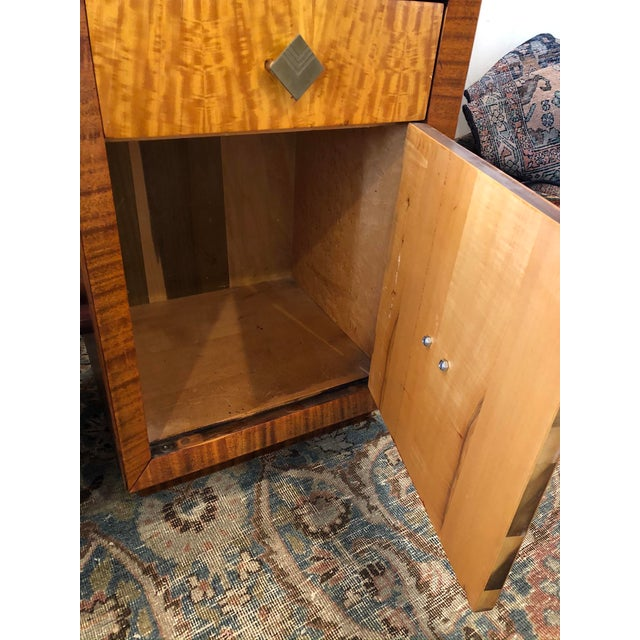 Mid Century Art Deco Night Stands W Movingui Wood Vaneer - a Pair For Sale - Image 4 of 13