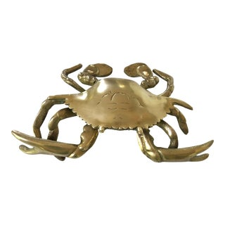 Vintage Coastal Mid-Century Solid Brass Detailed Crab Box For Sale