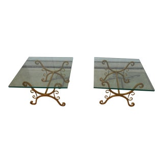 Hollywood Regency Gold Gilt Wrought Iron & Glass Side Tables - A Pair For Sale