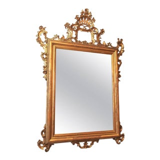 Antique Italian Gilt Wood Mirror For Sale