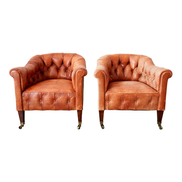 Pair of English Tufted Leather Chesterfield Club Chairs For Sale