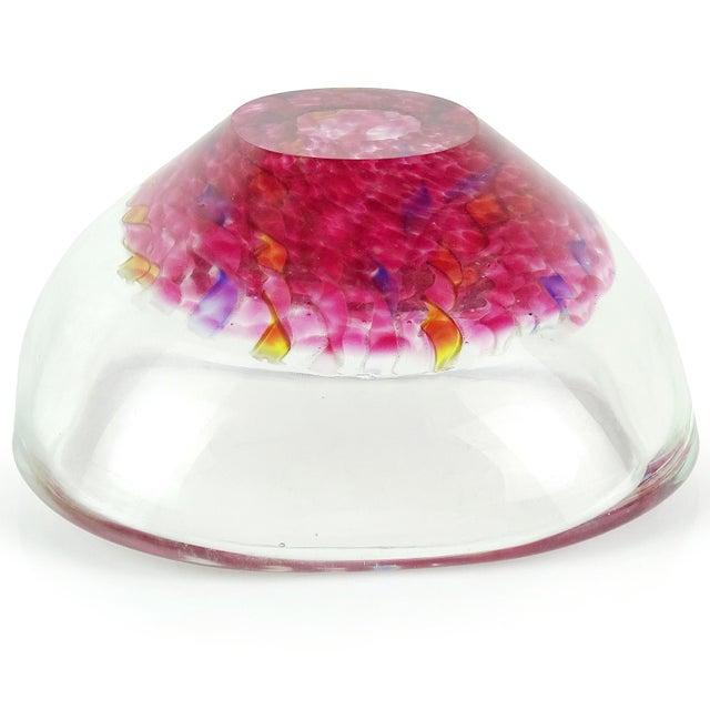 Murano Italian Pink Yellow Blue White Aventurine Flecks Ribbons Art Glass Bowl For Sale In Orlando - Image 6 of 8