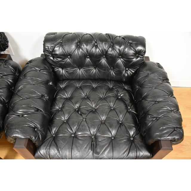 Tufted Leather Lounge Chairs - a Pair - Image 9 of 10