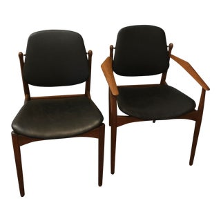 1950s Vintage Arne Vodder Danish Modern Leather Dining Chairs- 8 Chairs For Sale