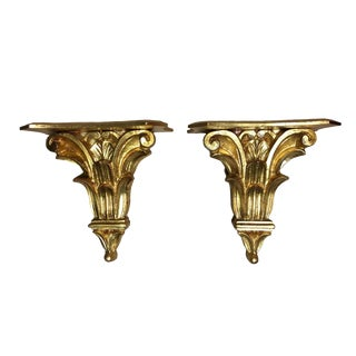 Vintage Italian Giltwood Shelf Brackets - a Pair For Sale