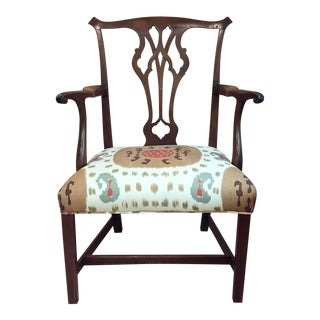 Chippendale Armchair With Ikat Upholstery For Sale