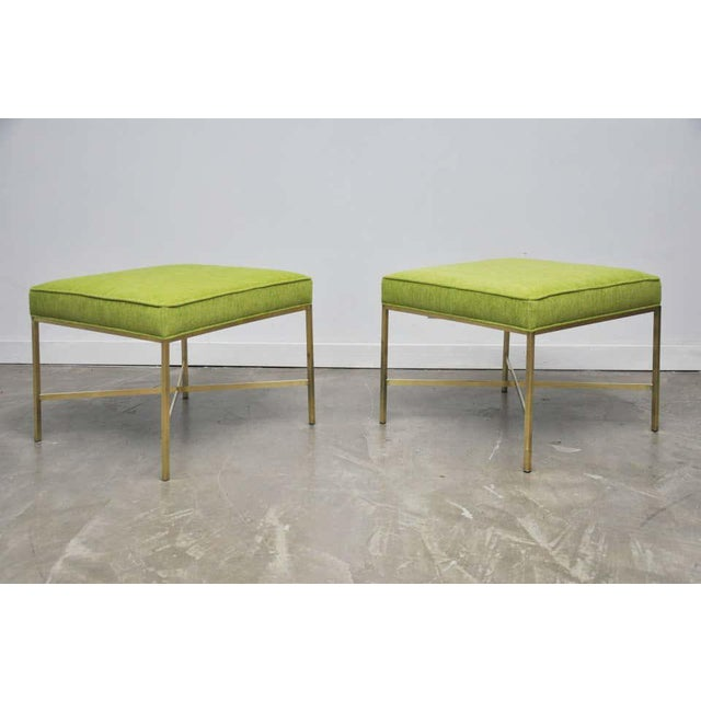 Paul McCobb Brass X-Base Stools by Paul McCobb- A Pair For Sale - Image 4 of 7