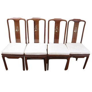 Vintage Custom Made Rosewood Mother of Pearl Inlay Dining Chairs - Set of 4 For Sale