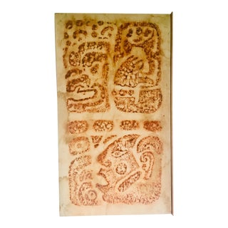 Vintage Mayan Temple Rubbing - Glyphs For Sale