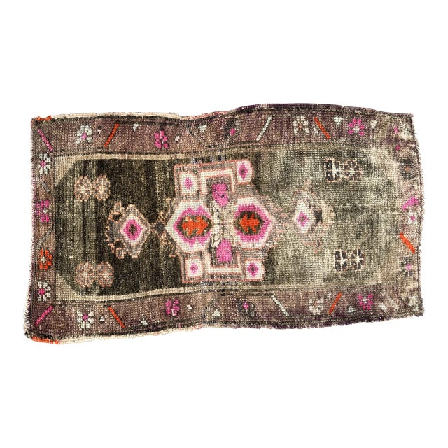1960s Vintage Distressed Rug- 1′8″ × 2′10″ For Sale