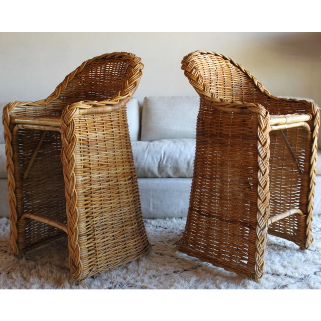 Brown Vintage French Woven Rattan Bar Stools - a Pair For Sale - Image 8 of 13