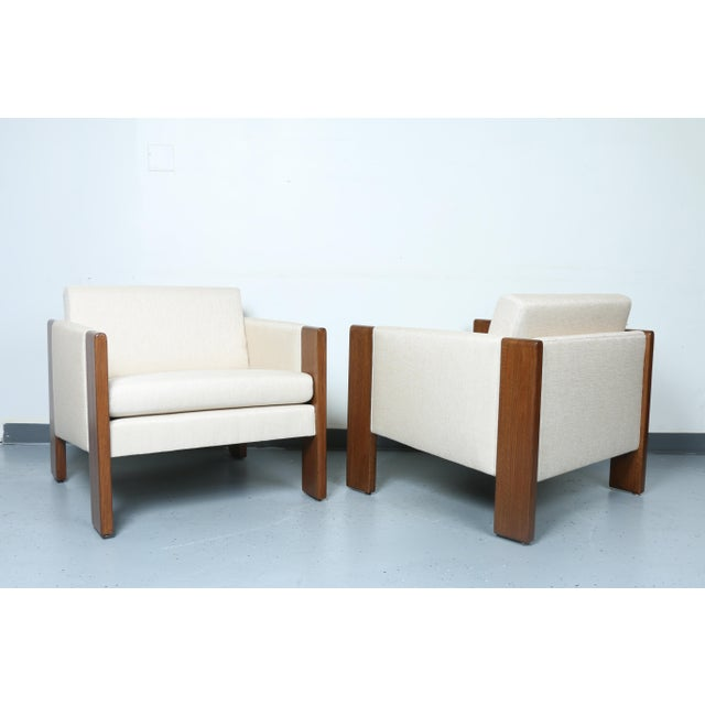 Walnut pair of Cubed Lounge Chairs - Image 2 of 10