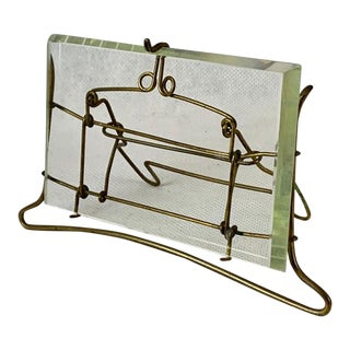 French Brass Wire and Beveled Glass Photo Frame For Sale