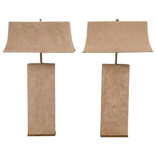 Karl Springer Beige Suede Lamps - a Pair For Sale