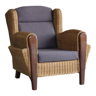Wicker Lounge Chair With Magazine Pockets Danish Mid-Century