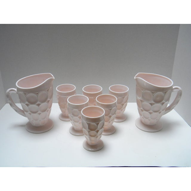 Vintage Shell Pink Thumbprint Ware - Set of 8 For Sale - Image 4 of 4