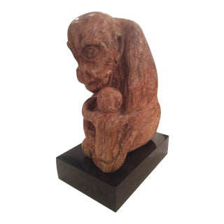 Stone Rock Carved Monkey Mother and Baby Gorilla Statue Signed Lew Siegel For Sale