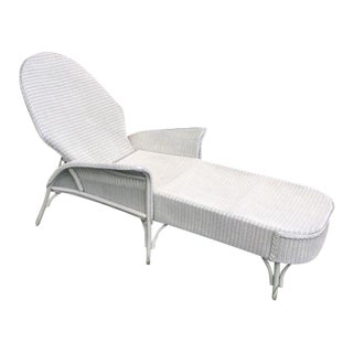 White Wicker Lloyd Flanders Chaise Lounge For Sale