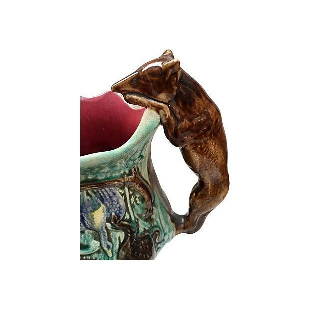 Cottage English Majolica Pitcher with Fox Handle For Sale - Image 3 of 7