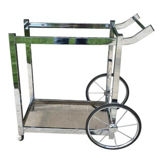 1970s Modern Chrome Rolling Bar Cart For Sale