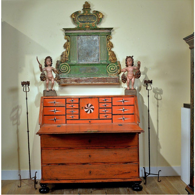 Mid 19th Century 1848 Traditional Continental Slant Front Secretary Desk For Sale - Image 5 of 7